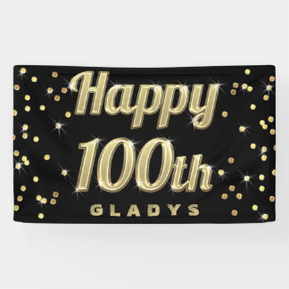 Happy 100th Gold Bling Typography Confetti Black Banner