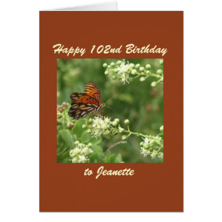 Happy 102nd Birthday Greeting Card Butterfly