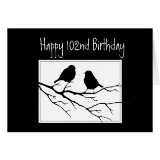 Happy 102nd, One Hundred Second Birthday Two Birds Card