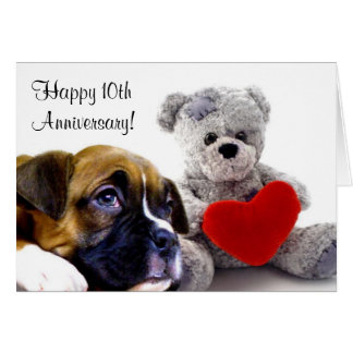 Happy 10th Anniversary Boxer Greeting card