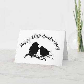 Happy 10th Anniversary Cute Bird Couple Silhouette Card