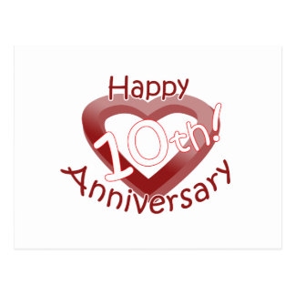 """Happy 10th Anniversary"" Heart design Postcard"