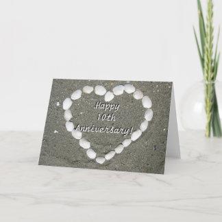 Happy 10th Anniversary Seashell heart card