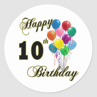 Happy 10th Birthday Gifts and Birthday Apparel Classic Round Sticker