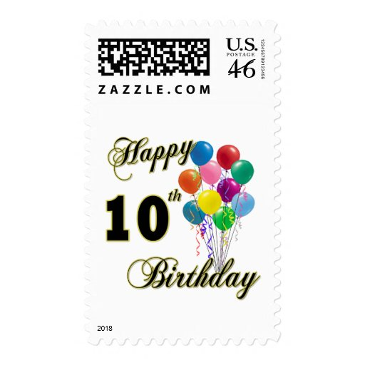Happy 10th Birthday Gifts and Birthday Apparel Stamp