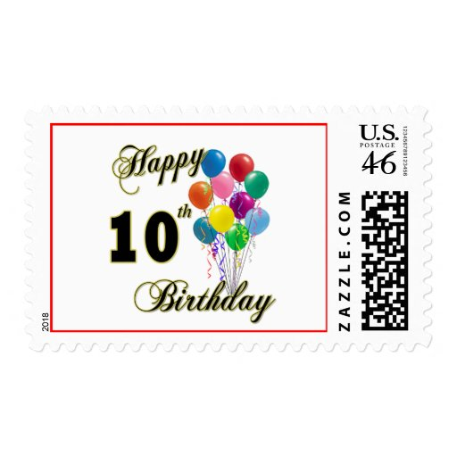 Happy 10th Birthday Gifts and Birthday Apparel Postage Stamp