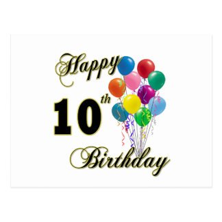 Happy 10th Birthday Gifts and Birthday Apparel Postcard