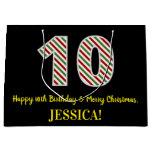 [ Thumbnail: Happy 10th Birthday & Merry Christmas, Custom Name Gift Bag ]