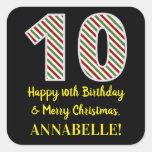 [ Thumbnail: Happy 10th Birthday & Merry Christmas, Custom Name Sticker ]
