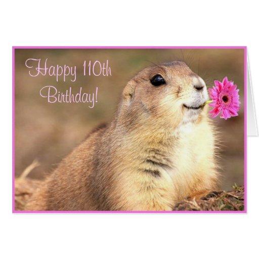 Happy 110th Birthday Prairie dog greeting card
