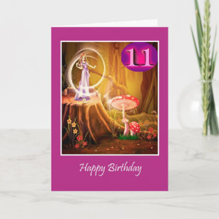 Happy 11th Birthday for girl with fairy eleventh Card