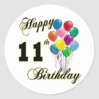 Happy 11th Birthday Gifts and Birthday Apparel Classic Round Sticker