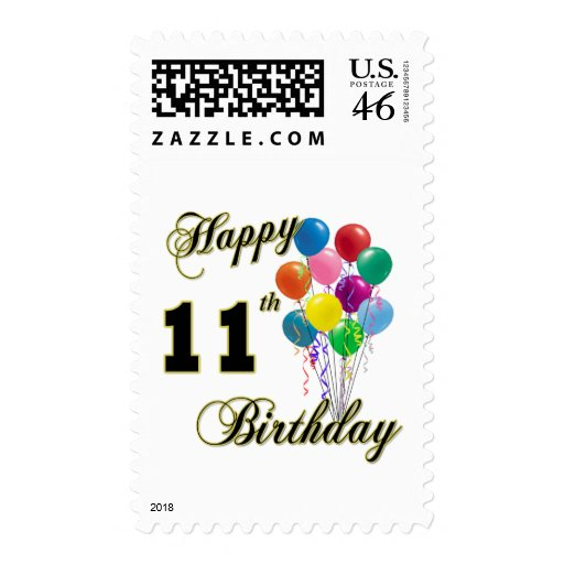 Happy 11th Birthday Gifts and Birthday Apparel Postage Stamps