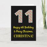 [ Thumbnail: Happy 11th Birthday & Merry Christmas, Custom Name Card ]