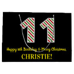 [ Thumbnail: Happy 11th Birthday & Merry Christmas, Custom Name Gift Bag ]