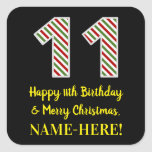 [ Thumbnail: Happy 11th Birthday & Merry Christmas, Custom Name Sticker ]