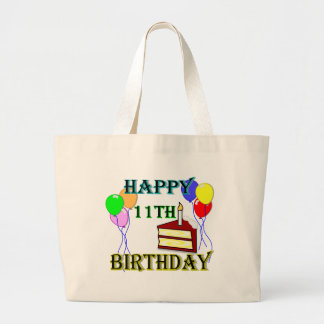 Happy 11th Birthday with Cake, Balloons and Candle Jumbo Tote Bag