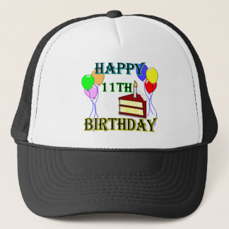 Happy 11th Birthday with Cake, Balloons and Candle Trucker Hat