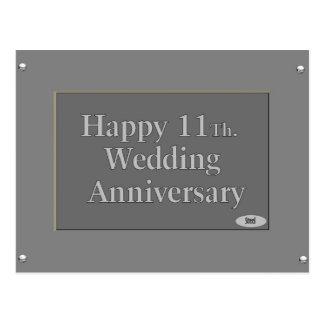 Happy 11Th. Wedding Anniversary Steel Postcard
