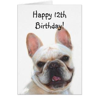 Happy 12th Birthday French Bulldog Greeting Card