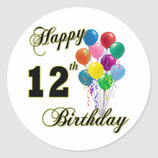 Happy 12th Birthday Gifts and Birthday Apparel Classic Round Sticker
