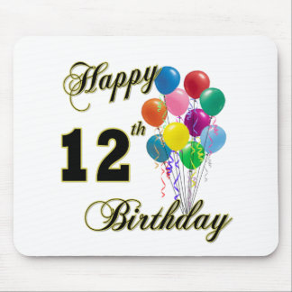 Happy 12th Birthday Gifts and Birthday Apparel Mouse Pad