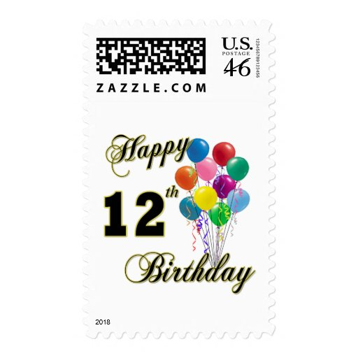 Happy 12th Birthday Gifts and Birthday Apparel Stamps