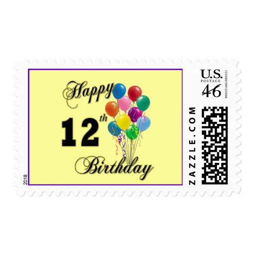 Happy 12th Birthday Gifts and Birthday Apparel Postage