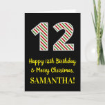 [ Thumbnail: Happy 12th Birthday & Merry Christmas, Custom Name Card ]