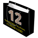 [ Thumbnail: Happy 12th Birthday & Merry Christmas, Custom Name Gift Bag ]