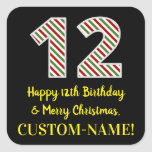 [ Thumbnail: Happy 12th Birthday & Merry Christmas, Custom Name Sticker ]