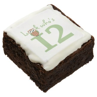 Happy 12th Birthday Owls Square Brownie