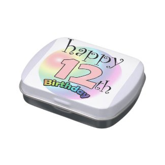 Happy 12th Birthday (pink) Jelly Belly Tins