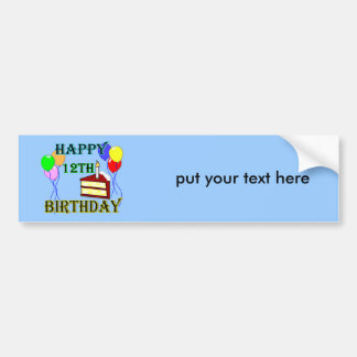 Happy 12th Birthday with Cake, Balloons and Candle Bumper Sticker