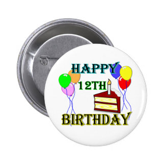 Happy 12th Birthday with Cake, Balloons and Candle 2 Inch Round Button