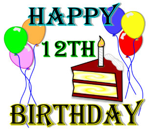 Happy 12th Birthday With Cake Balloons And Candle Classic Round Sticker