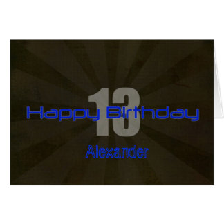 Happy 13th Birthday Black and Gray Teen Card