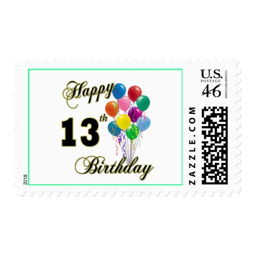 Happy 13th Birthday Gifts and Birthday Apparel Postage