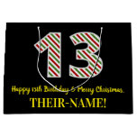 [ Thumbnail: Happy 13th Birthday & Merry Christmas, Custom Name Gift Bag ]