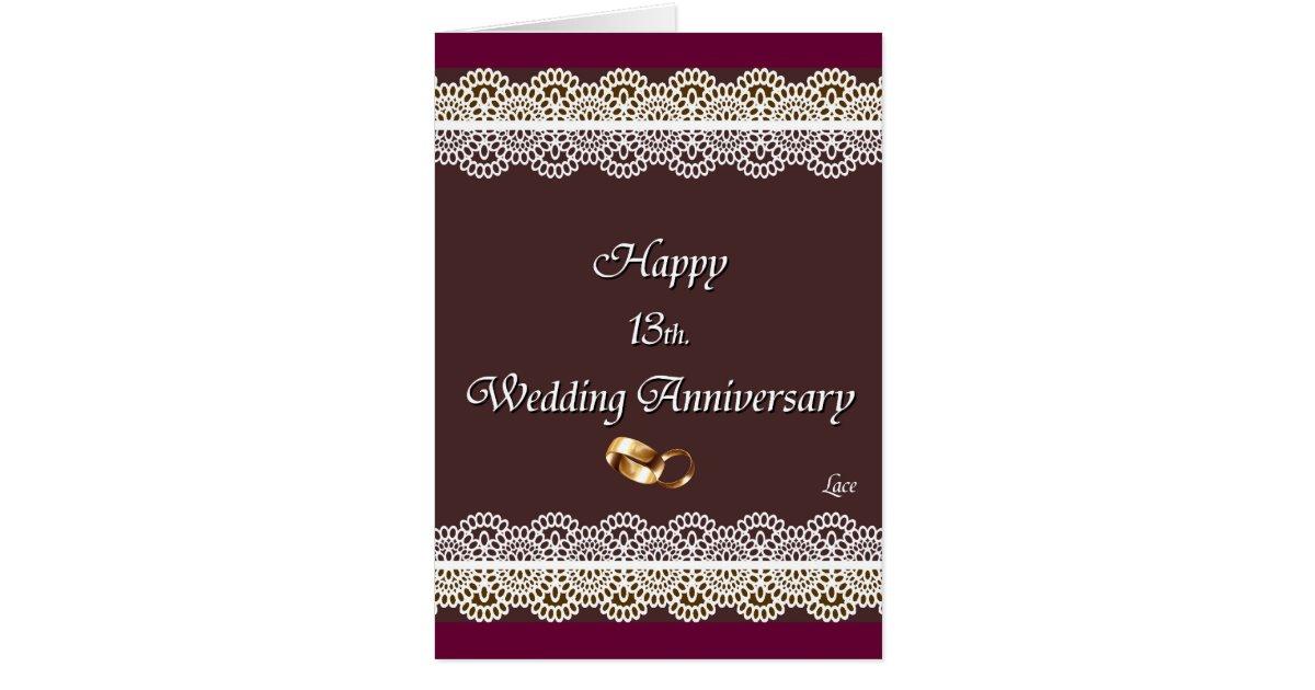 happy 13th wedding anniversary lace card  zazzle