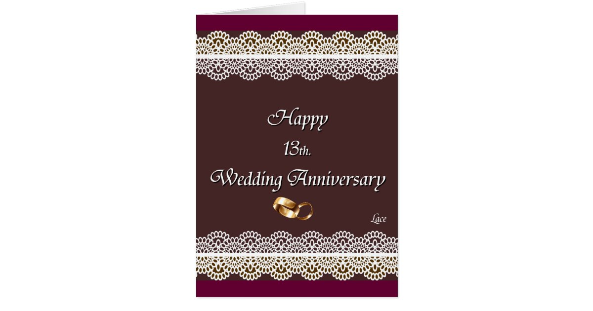 happy 13th  wedding anniversary lace card