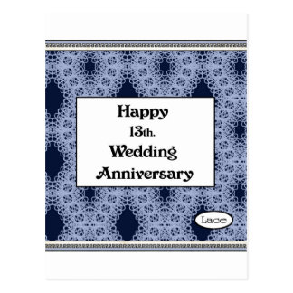 Happy 13th. Wedding Anniversary Lace Postcard