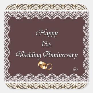 Happy 13th. Wedding Anniversary Lace Square Sticker