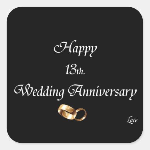 Happy 13th. Wedding Anniversary Lace Square Sticker Zazzle