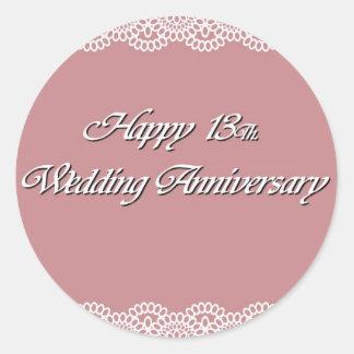 Happy 13Th. Wedding Anniversary Lace Classic Round Sticker