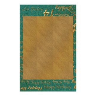 Happy 14th Birthday Brass on Green Copper Print Stationery