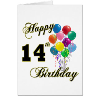 Happy 14th Birthday Gifts and Birthday Apparel Greeting Card