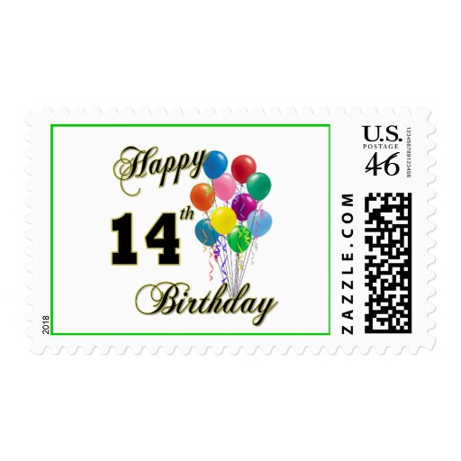 Happy 14th Birthday Gifts and Birthday Apparel Postage