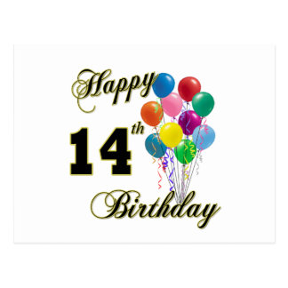 Happy 14th Birthday Gifts and Birthday Apparel Postcard