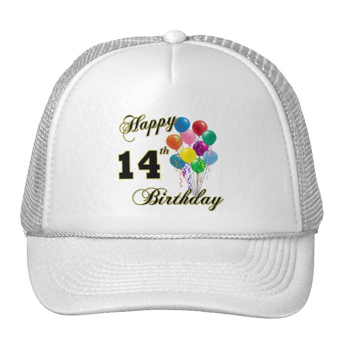 Happy 14th Birthday Gifts and Birthday Apparel Trucker Hat